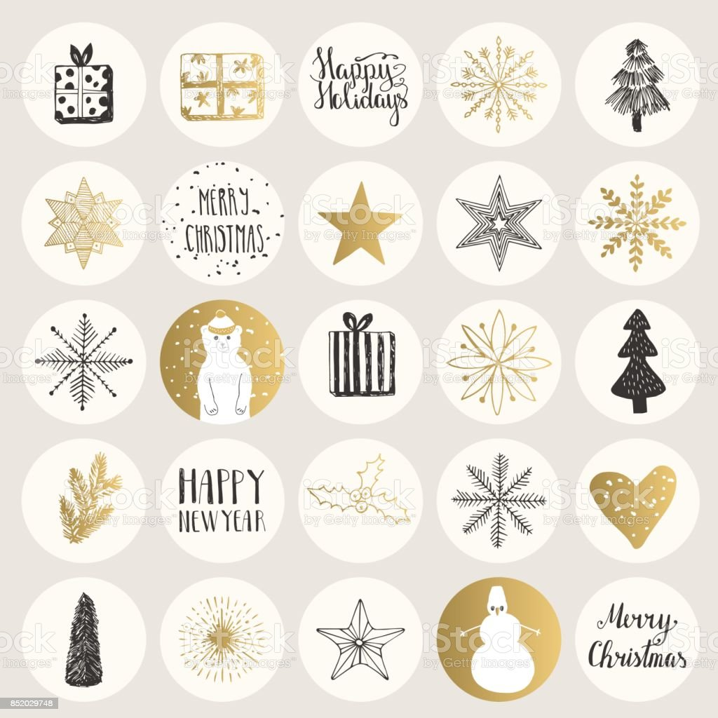 Set of Christmas stickers. Hand drawn holiday elements. Vector.