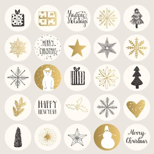 bildbanksillustrationer, clip art samt tecknat material och ikoner med uppsättning jul klistermärken. handritad holiday element. vektor. - christmas decoration golden star