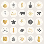 Set of Christmas stickers. Hand drawn winter elements. Holiday gold vector.