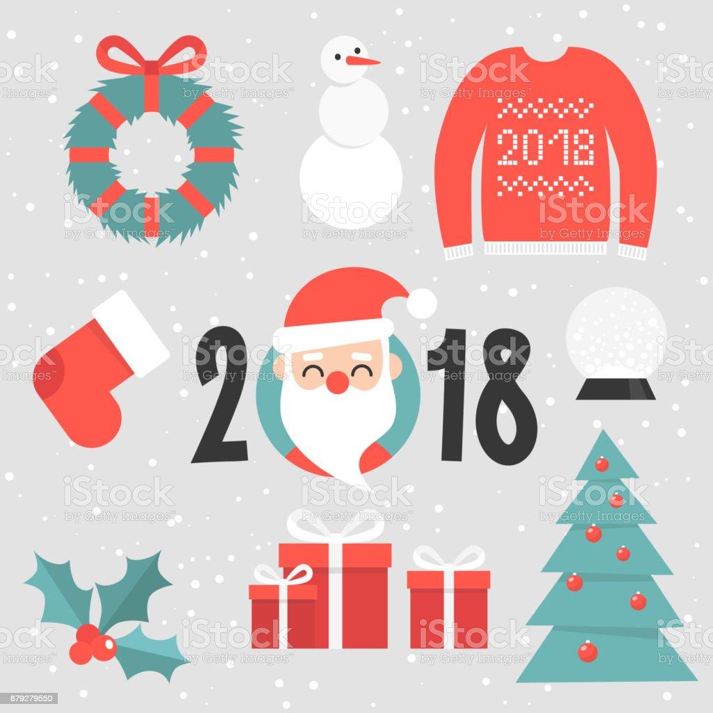 Satz Von Weihnachten Aufkleber Santa Porträt Roter Pullover ...