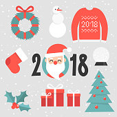 Set of christmas stickers. Santa portrait, red sweater, christmas tree, door wreath, crystal ball, gift boxes, chimney socks and holly berry. Flat editable vector illustration, clip art