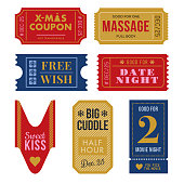 Set of Christmas Tickets and Coupon. - Illustration