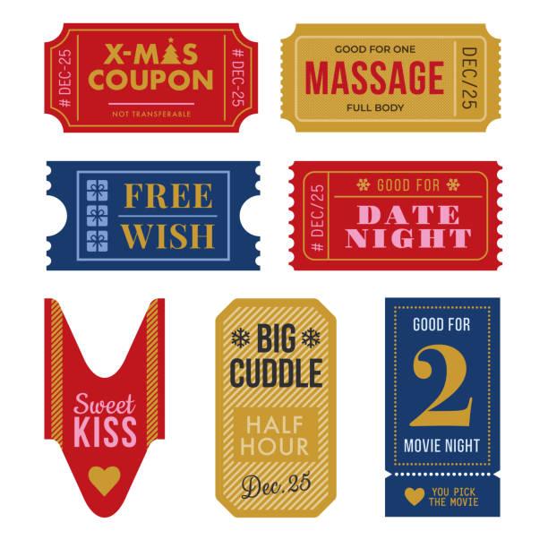 illustrazioni stock, clip art, cartoni animati e icone di tendenza di set di biglietti e coupon di natale - christmas movie