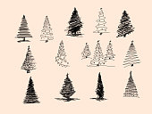 Set of Christmas tree hand drawn. Vector illustration. Hand drawn doodle sketch with ink. Vector illustration set.