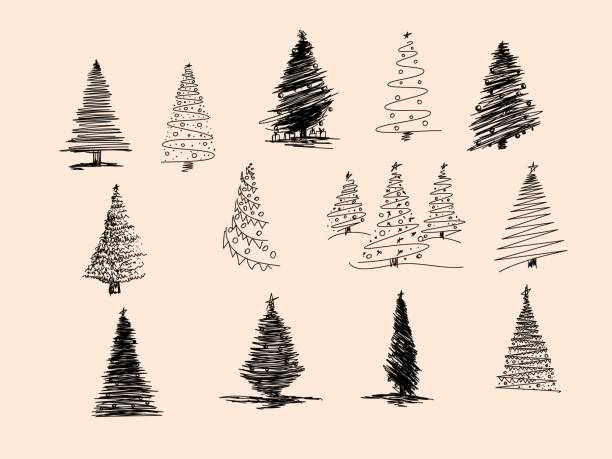 Set of Christmas tree hand drawn. Vector illustration. Hand drawn doodle sketch with ink. Vector illustration set Set of Christmas tree hand drawn. Vector illustration. Hand drawn doodle sketch with ink. Vector illustration set. christmas trees stock illustrations