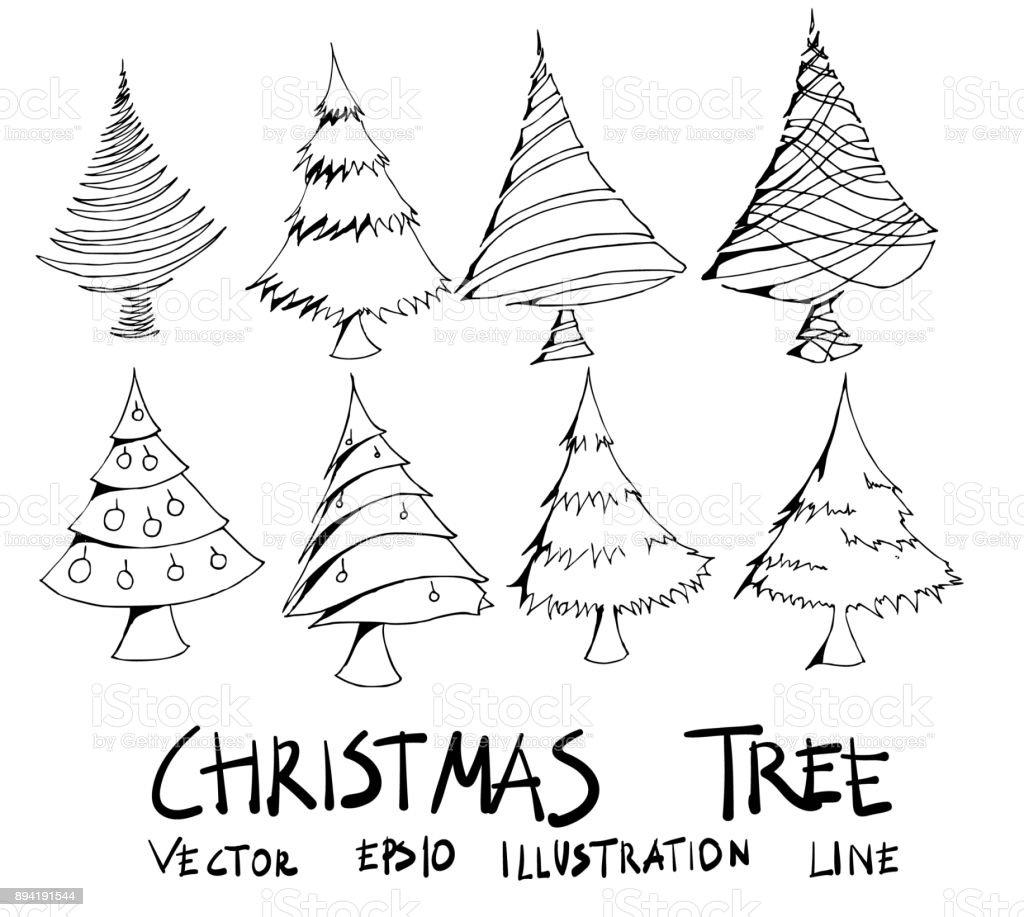 Drawing Christmas Tree Sketch.Set Of Christmas Tree Illustration Hand Drawn Doodle Sketch Line Vector Eps10 Stock Illustration Download Image Now