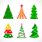 Set of Christmas trees in flat style on white background for print, web or mobile app