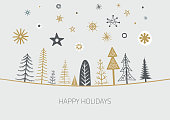Layered illustration of hand drawn christmas  trees (spruces, pines and firs). Global colors. Easy to use.