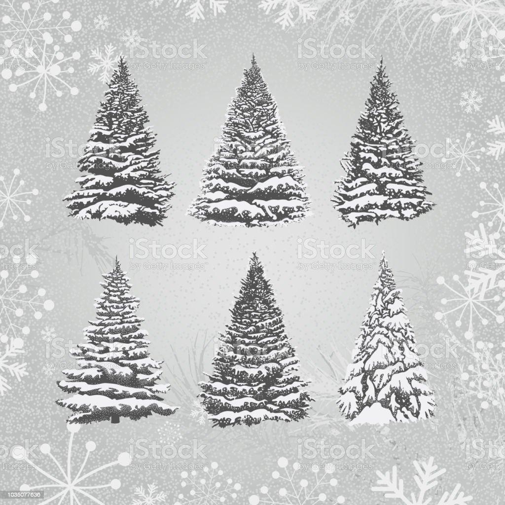 Set of Christmas Trees vector art illustration
