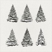 Layered illustration of christmas snowed trees (spruces, pines and firs). Global colors. Easy to use.