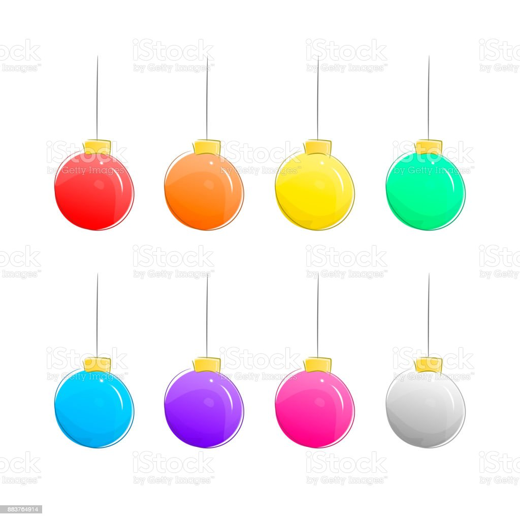 Set of Christmas Vector Balls Isolated on White Background