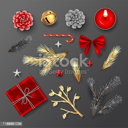 Set of Christmas decorations in black, red and gold colors