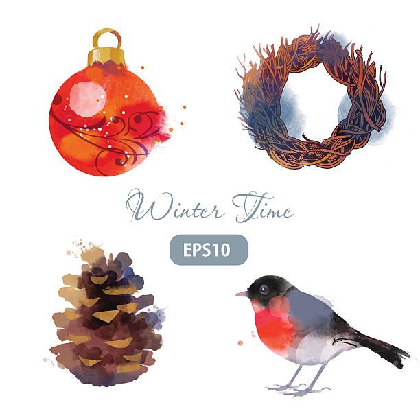 satz von weihnachten und winter kranz - dompfaff stock-grafiken, -clipart, -cartoons und -symbole