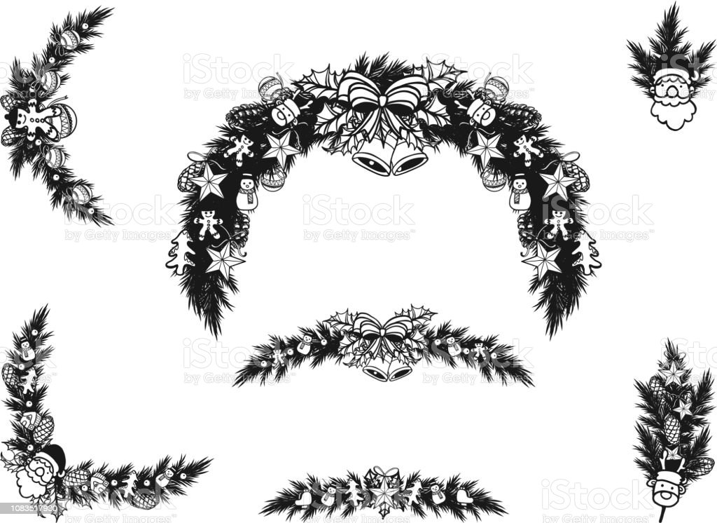 Christmas Wreath Silhouette Vector.Set Of Christmas Wreath Ornament Silhouette On White