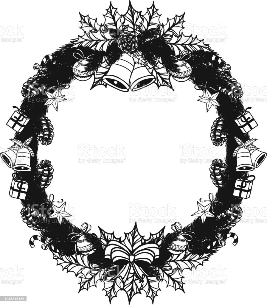 Christmas Wreath Silhouette Free.Set Of Christmas Wreath Ornament Silhouette On White