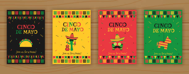 Set of cinco de mayo festive party poster template Set of cinco de mayo party poster template. Festive vector illustration with native pinata, taco and mariachi, cocktail face and garland flags for traditional Mexican celebration on cinco de mayo. cinco de mayo stock illustrations