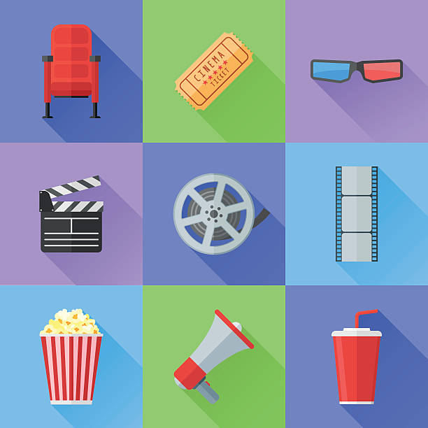 Set of cinema and movie flat style icons vector art illustration