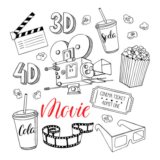 stockillustraties, clipart, cartoons en iconen met set cinema kenmerken - popcorn