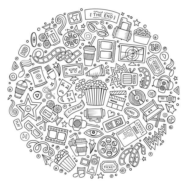 Objektmenge Kino Cartoon doodle – Vektorgrafik