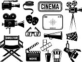 Set of cinema icons and design elements isolated on white background. Vector illustration