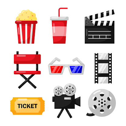 set of cinema icons signs and symbols collection for websites isolated on white background. illustration vector.