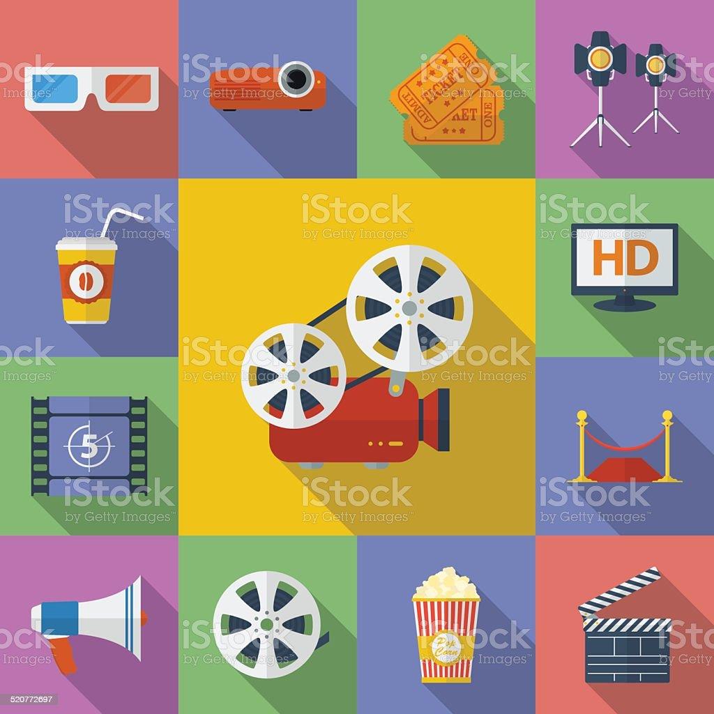 Satz von Kino Film-icons.  Flat-Stil – Vektorgrafik