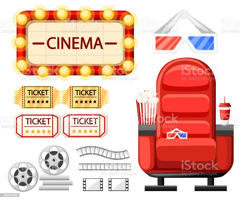 Vetores De Conjunto De Objetos De Cinema Assento Do Cinema Oculos