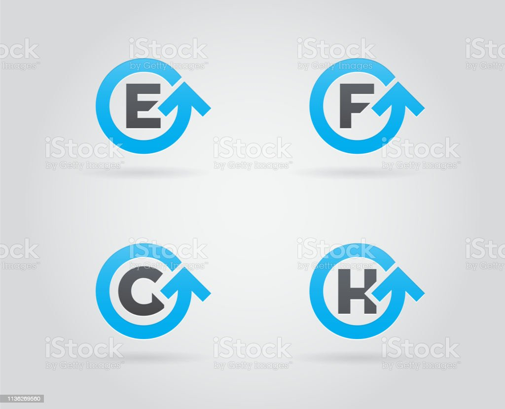 letter template icon  Set Of Circle Arrow Sign Icon Design Mit Letter ...