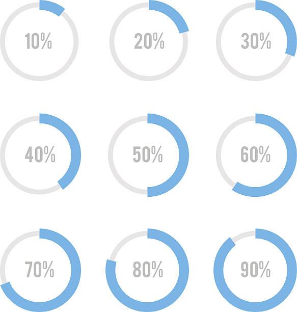 set mit kreis-diagramme für infografiken - portion stock-grafiken, -clipart, -cartoons und -symbole
