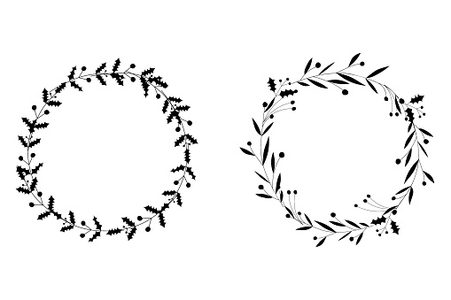 Set of circle flowers frames. Black and white. Decorative Wreaths for design, logo template, wedding save date, valentine, for party, holiday decor, textile.
