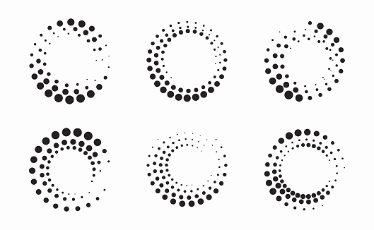Set of Circle Halftone Frame Effects. A beautiful circular halftone. Isolated on white background.