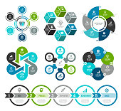 Vector illustration of the infographic elements, circle diagram, number 6 and five steps timeline element.