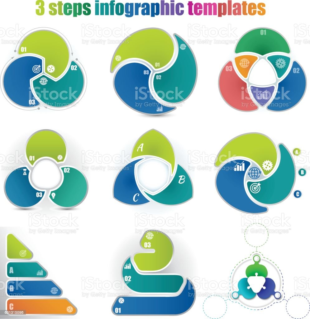 Set of circle infographic vector art illustration