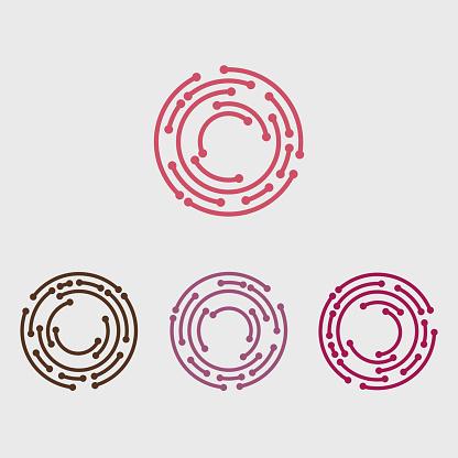 set of circle line fashion icon template