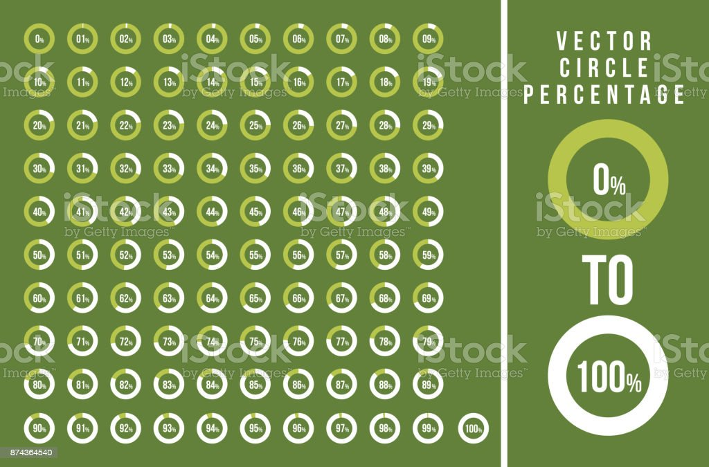 Set of circle percentage diagrams for infographics, from 0 to 100 percent - ilustração de arte vetorial