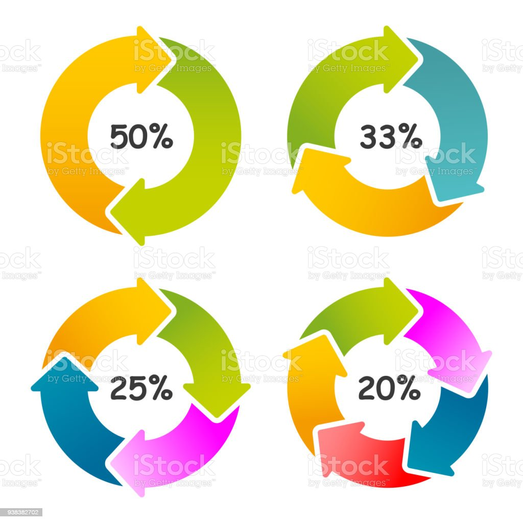 Set of circle percentage diagrams for web design. Circle diagrams isolated marketing illustration – stock vector vector art illustration