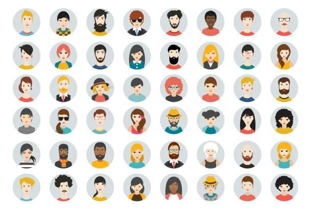 Set of circle persons, avatars, people heads  different nationality. Set of circle persons, avatars, people heads  different nationality in flat style. Vector. cartoon people stock illustrations