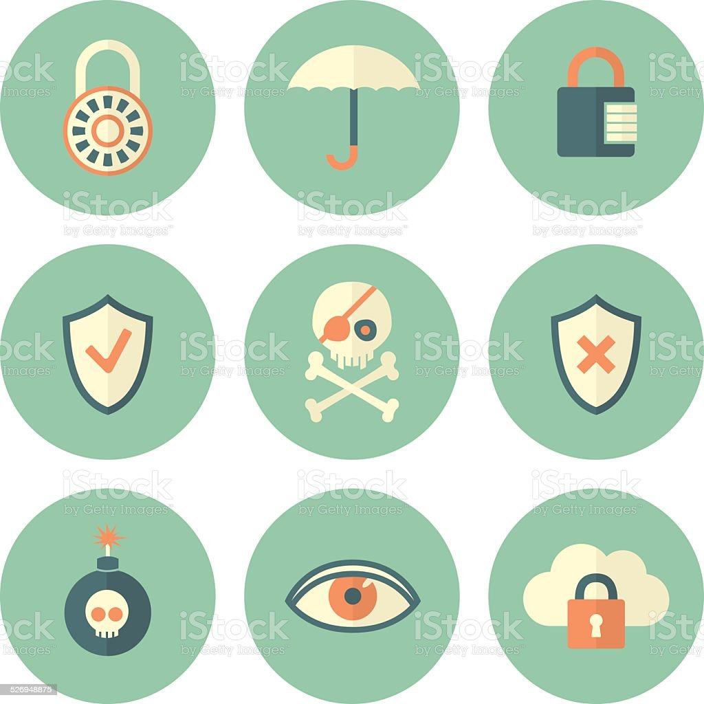 Set of Circle Security Icons vector art illustration
