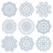 set of circle winter ornament, round geometric pattern, christma