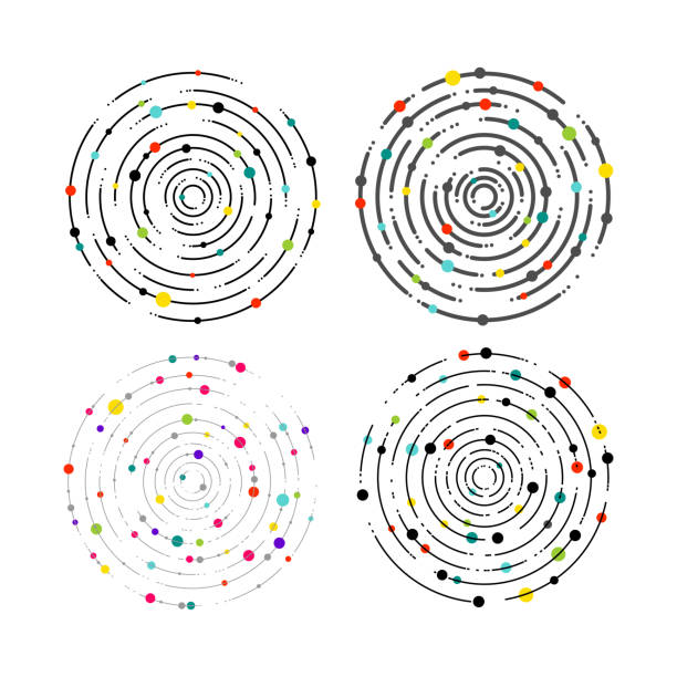 set of circular lines and color dots. circular lines graphic pattern, dashed line ripples. geometric element, concentric, radiating circles, vortex. vector illustration. isolated on white background - zwinięty aranżacja stock illustrations