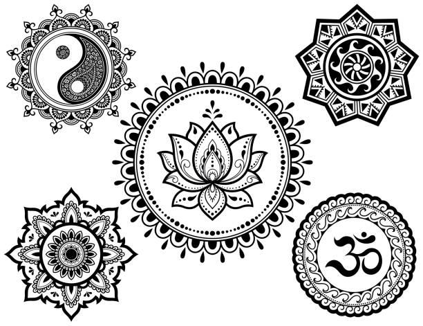 ilustrações, clipart, desenhos animados e ícones de conjunto de padrões circulares em forma de mandala com símbolos religiosos. sinais oriental om, yin-yang, flor de lótus, sol, tatuagem de henna, mehndi, decoração. ornamento decorativo em estilo étnico. - lotus