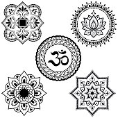Set of circular patterns in form of Mandala with religious symbols. Oriental signs OM, lotus flower, sun for Henna, Mehndi, tattoo, decoration. Decorative ornament in ethnic style.