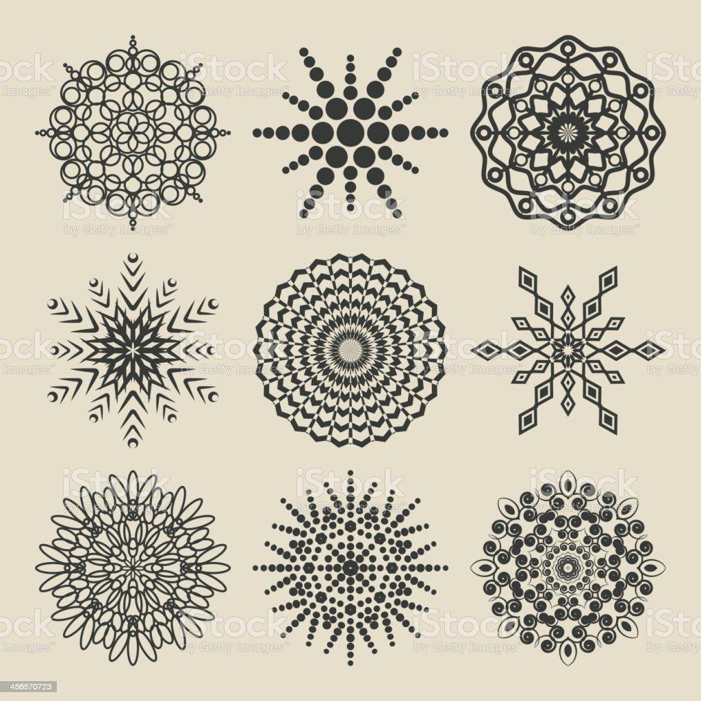 set of circular patterns royalty-free stock vector art