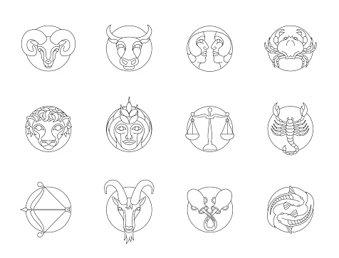 Set of circular zodiac signs with outlines