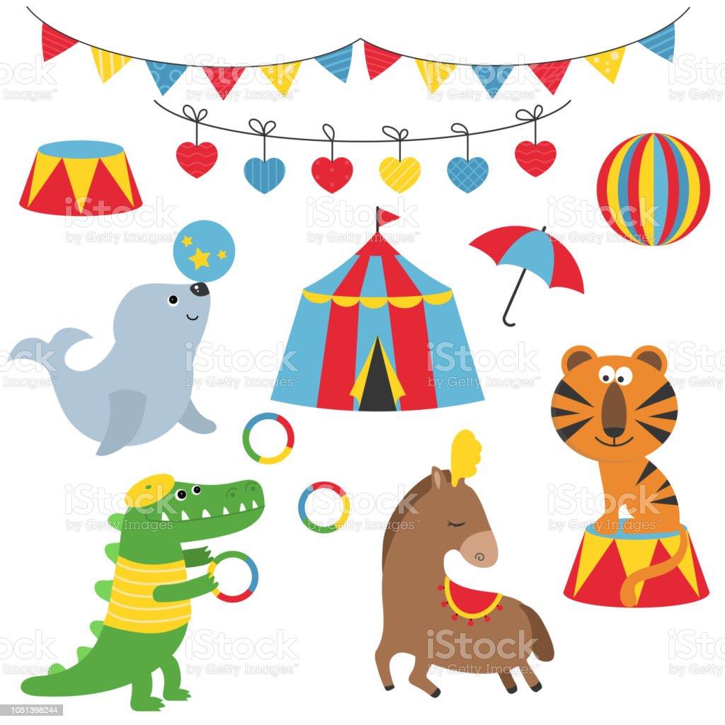 サーカスの動物のセットです おもちゃのベクターアート素材や画像を