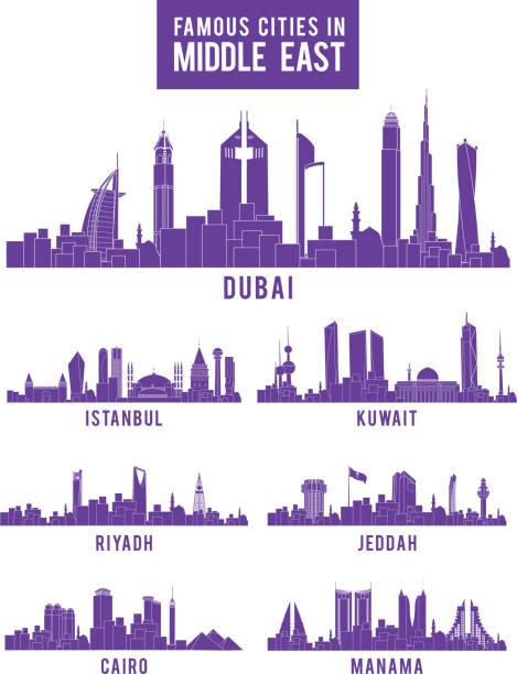 illustrations, cliparts, dessins animés et icônes de ensemble de villes célèbres bâtiments du moyen-orient - doha