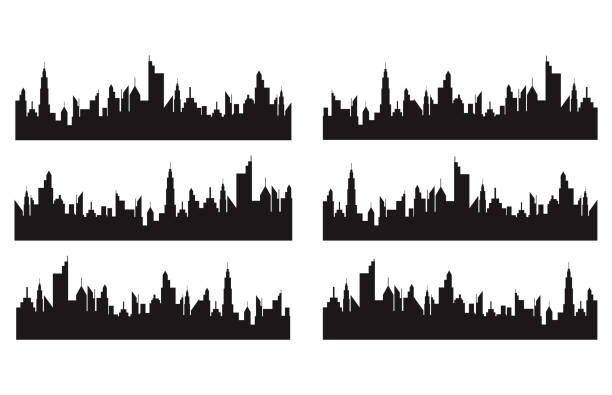Set of cities silhouette Vector illustration of Set of cities silhouette paris black and white stock illustrations