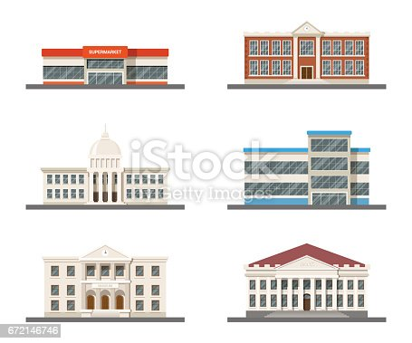 set of city buildings: supermarket, hospital, university, city hall, museum and shopping mall