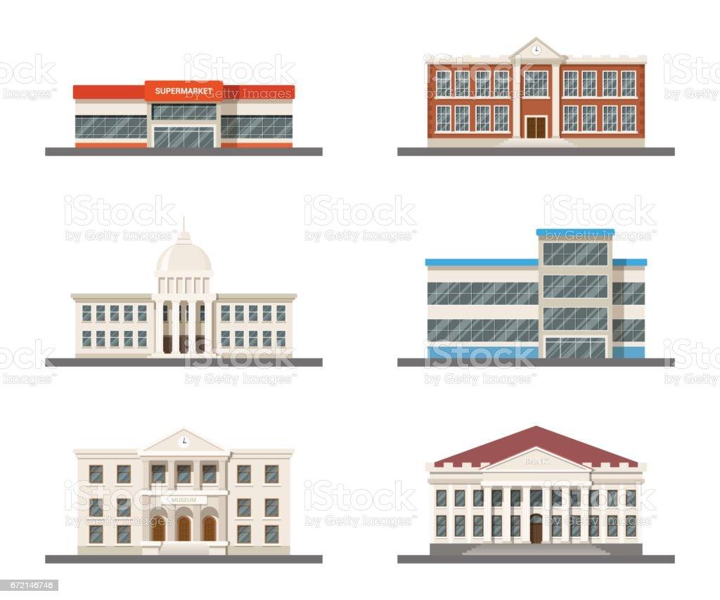 Set of city buildings vector art illustration