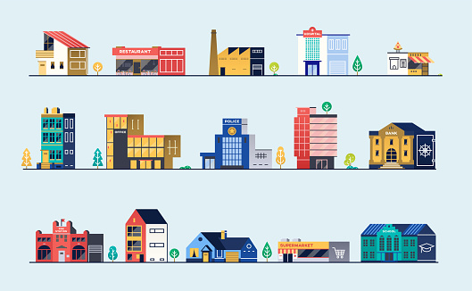 Set of city buildings clipart
